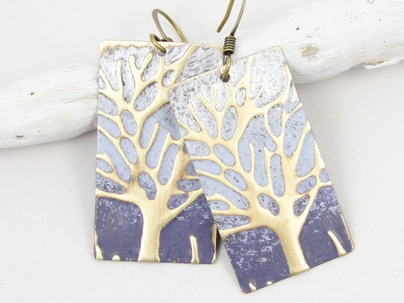 Tree Earrings Ombre Purple Winter Jewelry Tanzanite Lavender Earrings Tree Jewelry Antique Brass Distressed Cottage Chic Lilac