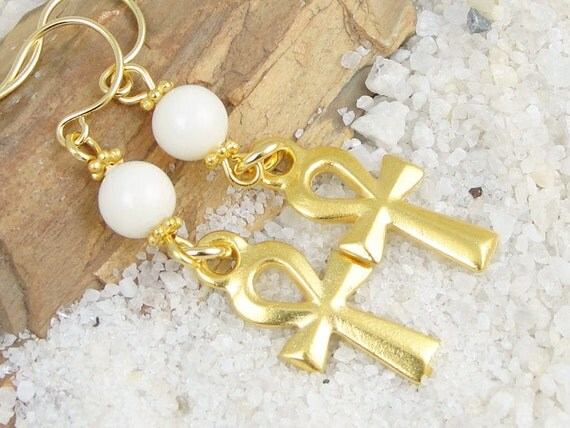 Ankh Earrings Gold Egyptian Jewelry Gold Ankh Jewelry Egypt Symbol of Life Spiritual Gold Earrings Dangle Earrings