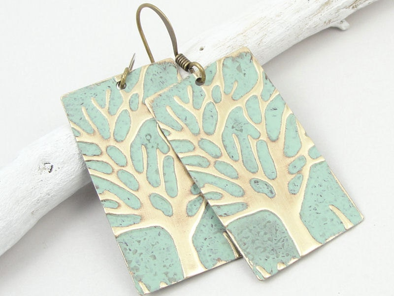 Winter Tree Earrings Mint Green Jewelry By Ostaramoonjewelry: very light mint green paint