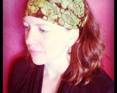 Chocolate Green Apple Batik Wrap, size M or L - yoga headband, golf hair wrap, dreadlocks, biker skullcap