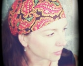Feather Gypsy Wrap, size M or L - paisley headband, yoga hair wrap, dread wrap. feathers