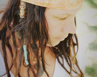 Mango Batik Wrap, size M or L - yoga headband, dreadlock wrap: Gypsy Wraps by Julie Bartel