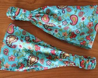Narrow Gypsy Paisley Wrap, size M or L - Narrow headband, hair accesories.  Gypsy Wraps by Julie Bartel