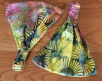 LAST ONE Happy Hippie Batik Gypsy Wrap by Julie Bartel, size M or L - dreadlocks, dread wrap, yoga headband, bandanna