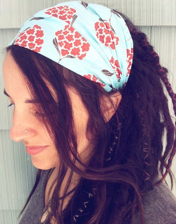 NARROW Hippie Happiness Gypsy Wrap,  size M - no tie bandana, hairwrap, headband, dreads