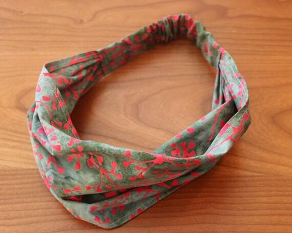 LAST ONE Red Coral Batik Gypsy Wrap, size M or L  - yoga headband, hair wrap, dread wrap, pre tied bandana