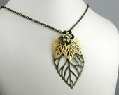 10% OFF Limited Time Only Large Antiqued Brass Leaf with Shiny Gold Leaves and Flower Necklace
