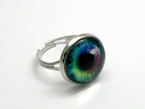 Eyeball Ring Rainbow Colors Blue Pink Yellow Adjustable Silver Plated