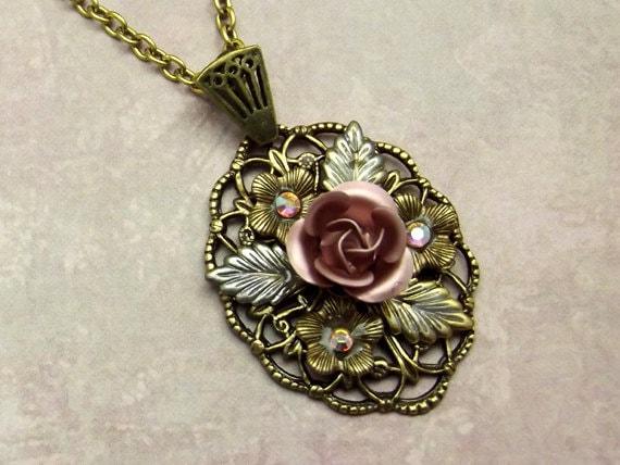Pink Rose Victorian Necklace Antiqued Gold Swarovski Crystals