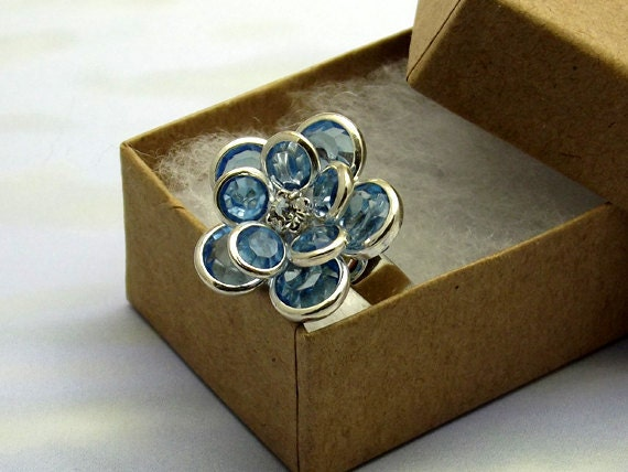 Light Blue Cocktail Flower Ring Faceted Glass Silver Plated Adjustable Ring Base