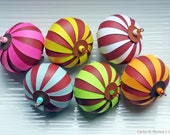 Six Paper Ornaments per Kit - The Chocolate Collection - Set of 6 Ornaments - White, Yellow, Pink, Blue, Orange, Green