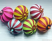 Paper Ornament Kit - The Chocolate Collection - Set of 3 Ornaments - Yellow, Pink, Blue, Orange, Green - PaperArtbyCNM