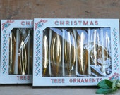 Vintage Gold Glass Christmas Tree Ornaments, set of 6