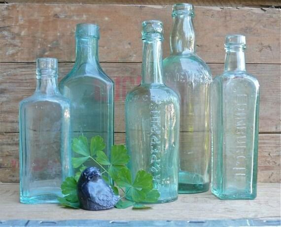 Vintage Aqua Glass Bottles, set of 5