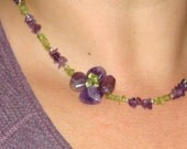 Amethyst and Peridot Flower Necklace