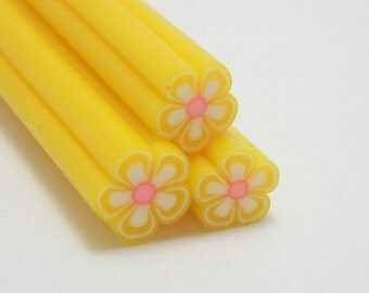 S002 Yellow Blossom - Polymer Clay Cane for Miniature Food Deco and Nail Art