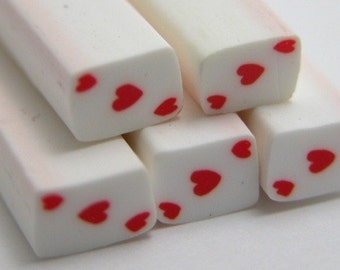 S067 Poker Face - Ace of Heart - Polymer Clay Cane for Miniature Food Deco and Nail Art