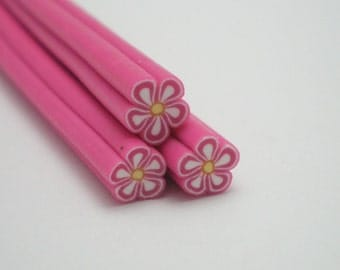 S003 Dark Pink Blossom - Polymer Clay Cane for Miniature Food Deco and Nail Art