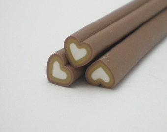 S014 Candy Heart (Chocolate Brown) - Polymer Clay Cane for Miniature Food Deco and Nail Art