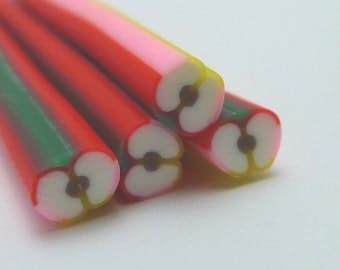 S114 Fruit - Apple Core IV  - Polymer Clay Cane for Miniature Food Deco and Nail Art