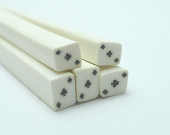 S151 Poker Face - Ace of Club - Polymer Clay Cane for Miniature Food Deco and Nail Art