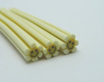 S046 Happy Flower (Baby Yellow) - Polymer Clay Cane for Miniature Food Deco and Nail Art
