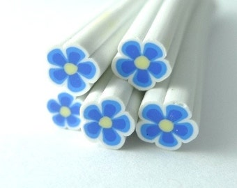 S138 Tiny Blue Bloom - Polymer Clay Cane for Miniature Food Deco and Nail Art