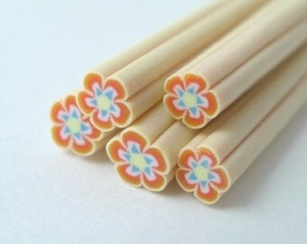 S139 Red and Blue Flower - Polymer Clay Cane for Miniature Food Deco and Nail Art