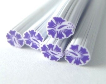 S177 Honeymoon in Hawaii - Purple Hibiscus - Polymer Clay Cane for Miniature Food Deco and Nail Art