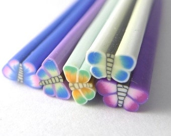 C021(5) Dual Tone Butterfly Combo - Polymer Clay Cane for Miniature Food Deco and Nail Art