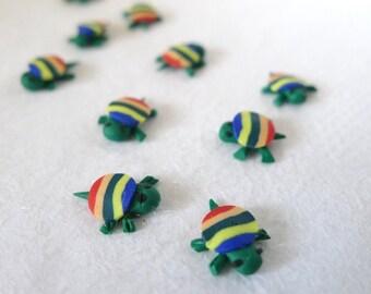 3D Kawaii Green Stripey Tortoise Cabochons (10 pcs)