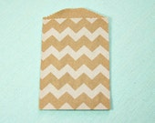 Bag-Kraft bag-Chevron Striped bag-Treat Bag-Favor Bag-Wedding Favor-Food Bag