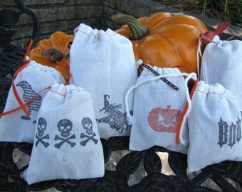 Halloween Muslin Treat Bags-Favor Bags-Gift Bags-Set of 6 3 x 5 and 4 x 6
