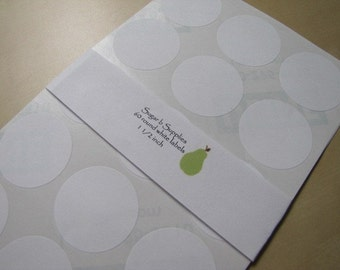 Round White Stickers Labels Seals 1 1/2 inch set of 60