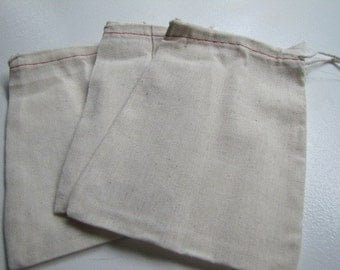 Muslin Cloth Drawstring  Bags for gift wrap, storage or stamping set of 10 4x6