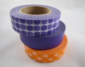 Japanese Masking Tape-Washi Tape-Decorative Tape-Candy Colors-Purple and Orange
