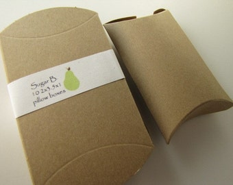 Pillow Box-Kraft Boxes- set of 10- 2x3.5  x1 inches