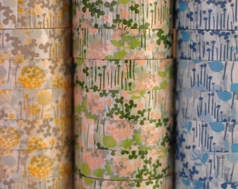 Washi Tape-Masking Tape-3 roll set-Pretty Floral Garden