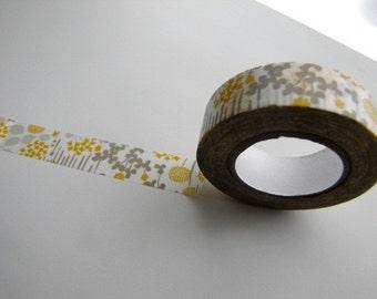 Washi Tape- Masking Tape-Mustard and Gray-Japanese Masking Tape-Washi Tape-Single Roll-Garden