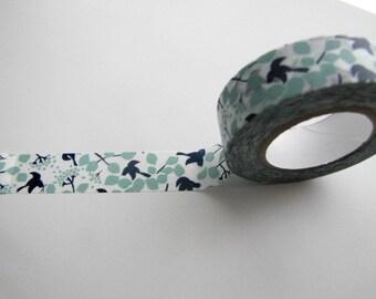 Washi Tape- Masking Tape-Washi Tape-Single Roll-Blue Birds