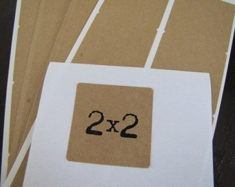 Kraft Labels-Kraft Stickers-Square 2 x 2 inches-Packaging-Gift Wrapping-Organization