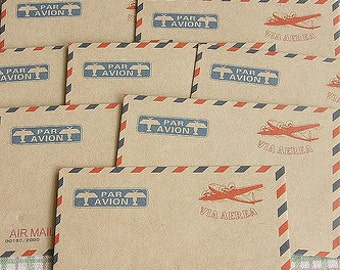 Air Mail Kraft Envelopes-Set of 10 Kraft Paper Envelopes-Perfect for Cards-Packaging