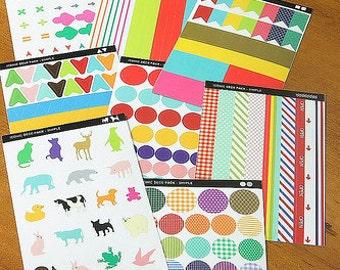 Washi Tape Sticker Set-Japanese Masking Tape Sticker Set-Deco Sticker Set-Label Set