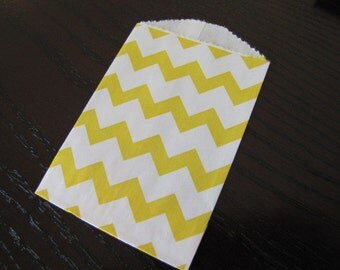 Paper Bag-Bitty Bag-Favor Bag-Treat Bag-Set of 10 yellow and white- Chevron Striped Bags-2.75 x 4