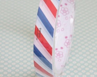 Tape-Deco Tape-Airmail-Red-White-Blue Striped Tape-Packaging-Wrapping