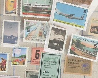 Sticker-Stamps-Vintage Stamps Sticker Set-Scrapbooking-Embellishment-