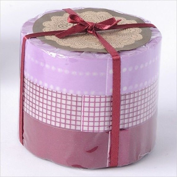 Japanese Masking Tape-Washi Tape-Decorative Tape- Purple Grid-3 roll set