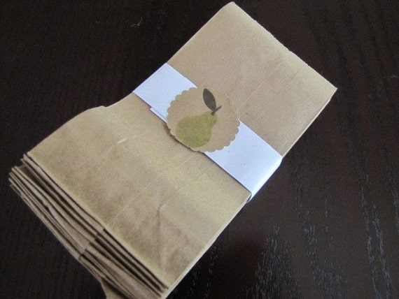 Brown Kraft Grocery Style Bags Sacks set of 50 Tiny Size 3 x 1 7/8 x 5 7/8