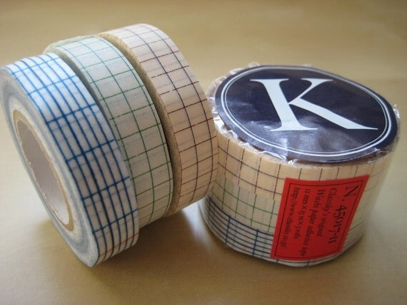 Japanese Masking Tape-Washi Tape-Paper Tape-Decorative Tape-3 roll set-Grid