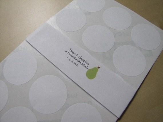 Round White Stickers Labels Seals 1 1/2 inch set of 60